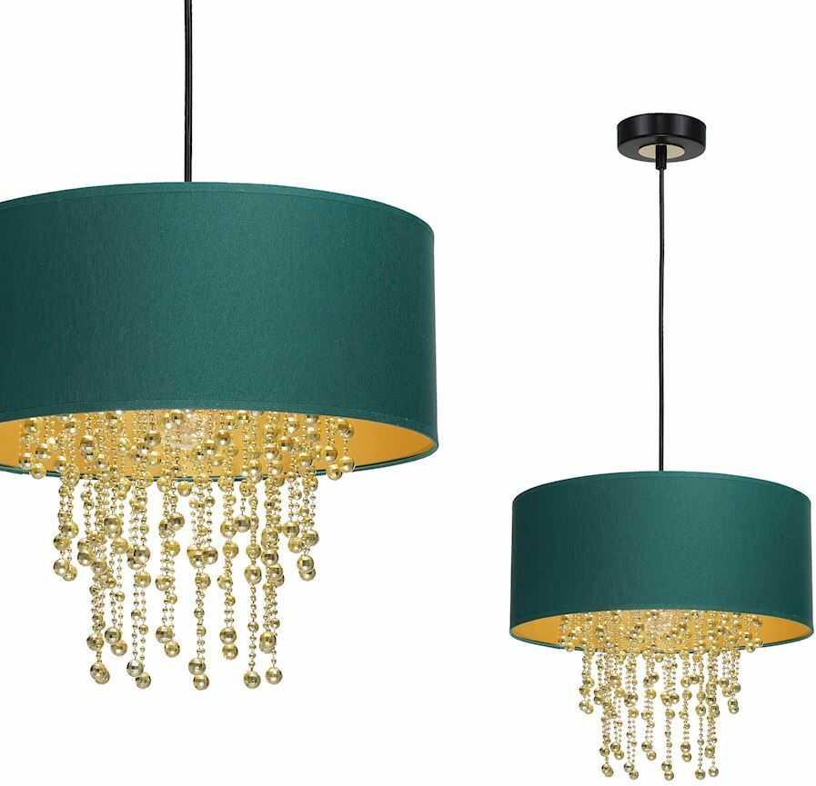 Milagro ALMERIA GREEN/GOLD MLP6451 lampa wisząca abażur zielony kryształowe sznurki 1x60W E27 35cm