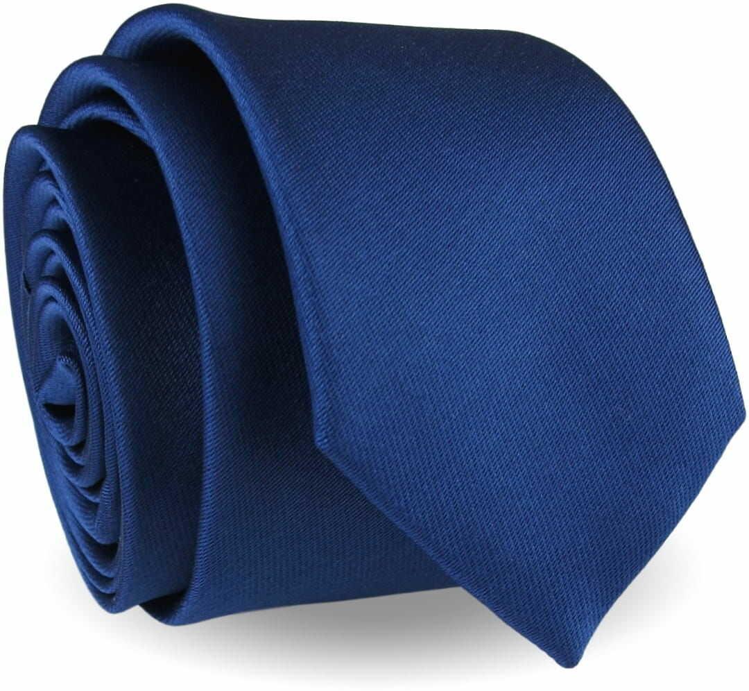 Krawat Męski Elegancki Modny Śledź wąski gładki granatowy atramentowy G299