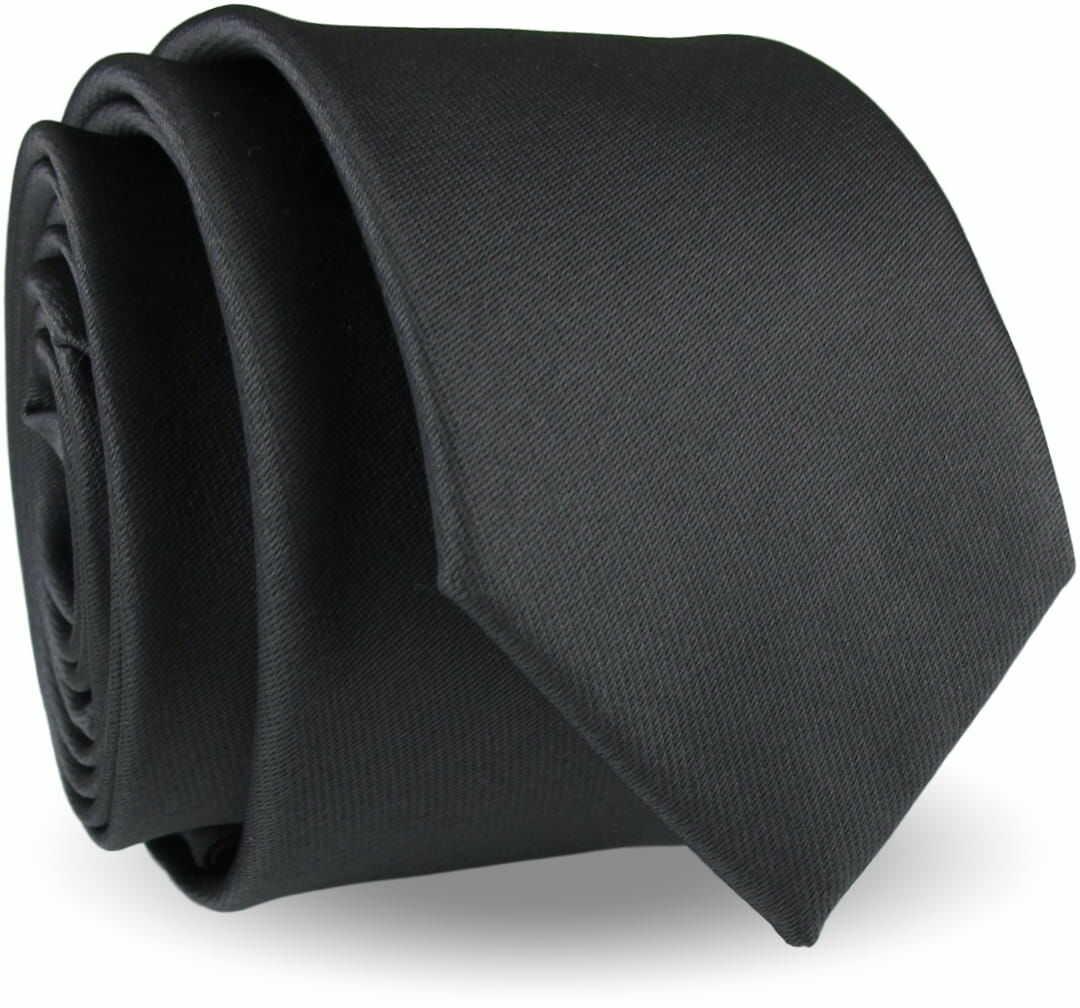 Krawat Męski Elegancki Modny Śledź wąski gładki grafitowy stalowy G300