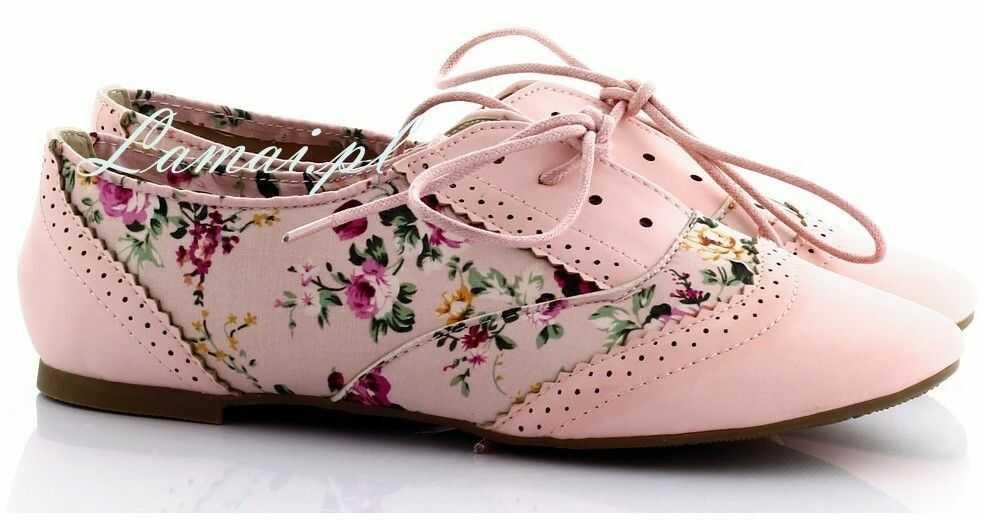 Różowe tenisówki w kwiatki t-4