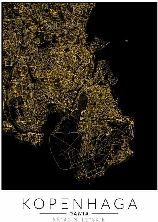 Kopenhaga złota mapa - plakat wymiar do wyboru: 40x50 cm
