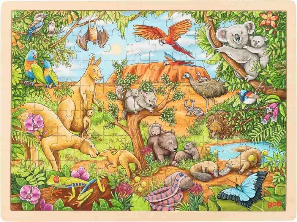 Puzzle drewniane Australijskie zwierzęta na tle Uluru 57441-Goki, układanki dla dzieci