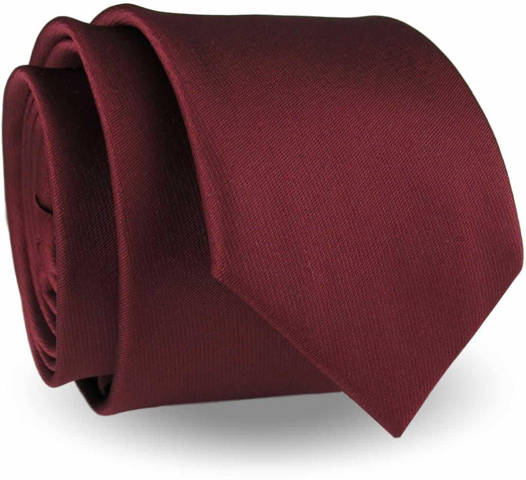 Krawat Męski Elegancki Modny Śledź wąski gładki ciemny bordowy burgundowy G301