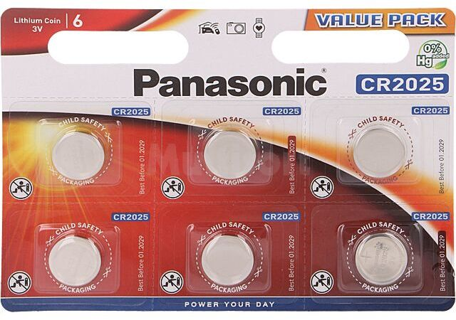 Bateria litowa 3V CR2025 PANASONIC 6szt. fi20x2,5mm