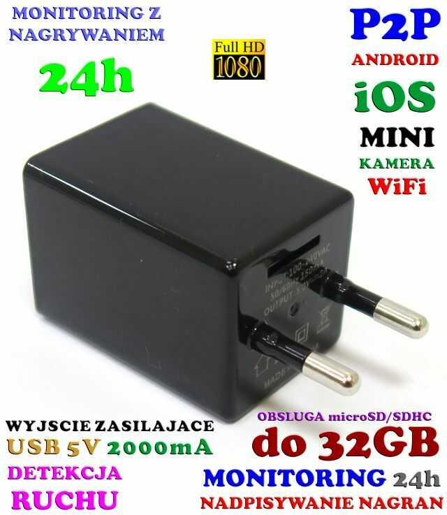 Mikro-Kamera FULL HD WiFi/P2P (Zasięg Cały Świat!) Ukryta w Zasilaczu/Ładowarce USB + Zapis...