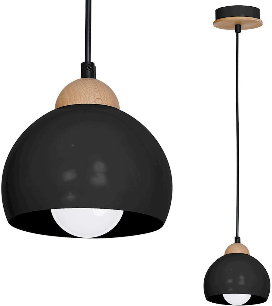 Milagro DAMA BLACK MLP6540 lampa wisząca metalowa czarna drewno 1xE27 15cm