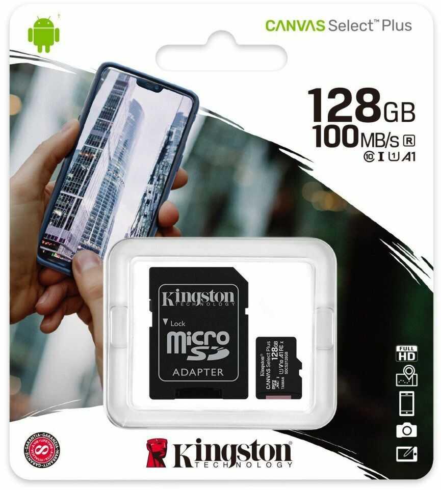 Karta pamięci Kingston Canvas Select Plus microSD (microSDXC) 128GB class 10 UHS-I U1 V10 A1 - 100MB/s + adapter
