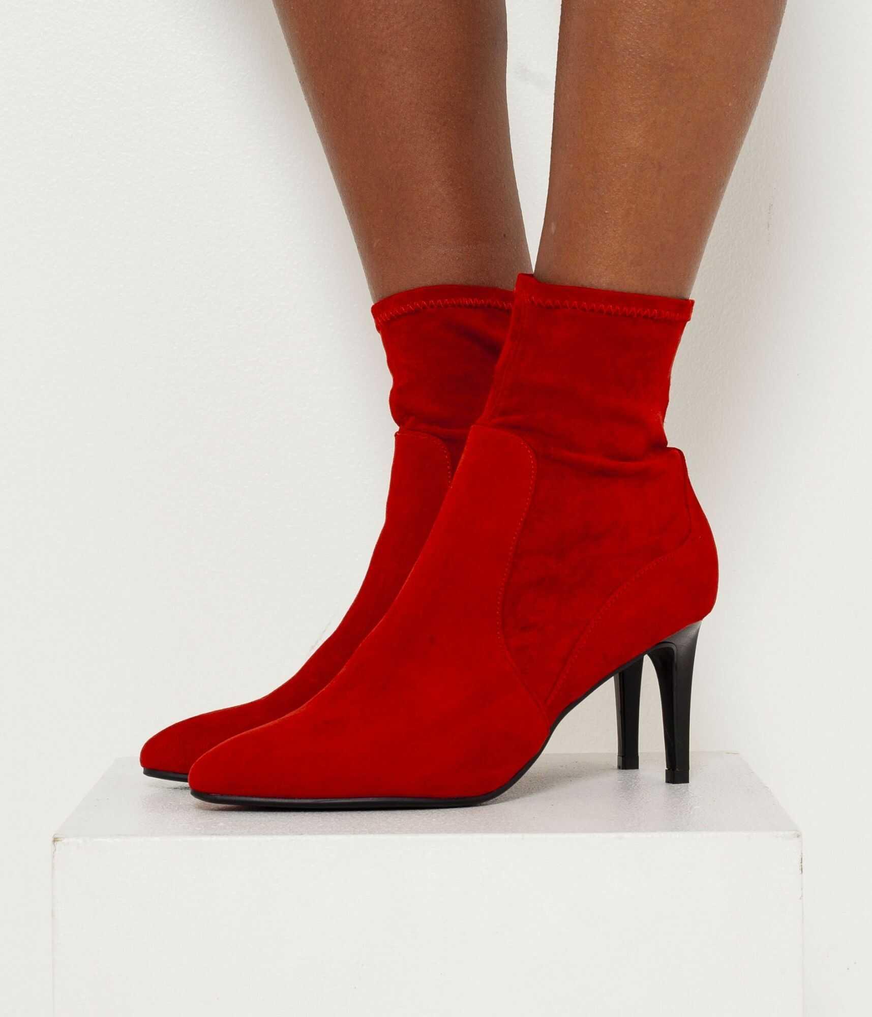 CAMAIEU czerwony botki buty na obcasie w zamszowym wykończeniu - 40