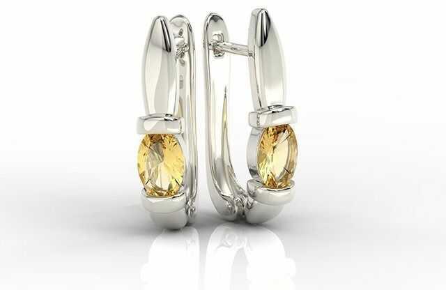 Kolczyki z białego złota z cytrynami apk-67b
