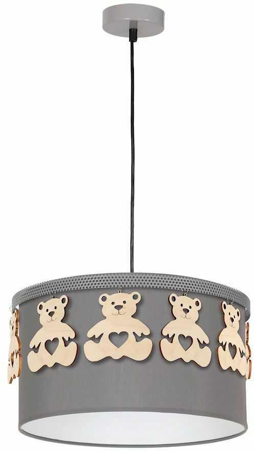 Milagro MIŚ MLP4961 lampa wisząca abażur tkanina drewniany miś 1xE27 37cm