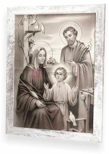SEPIA Obraz Święta Rodzina z ramą w stylu retro 44x34