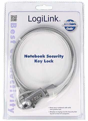Linka zabezpieczająca do laptopa LOGILINK kolor srebrny 1,5m