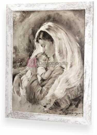 SEPIA Obraz M.B z dzieciątkiem z ramą w stylu retro 44x34