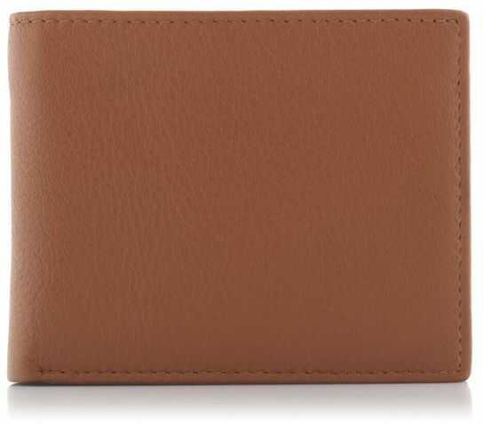 Skórzany cienki portfel męski koniakowy BG03