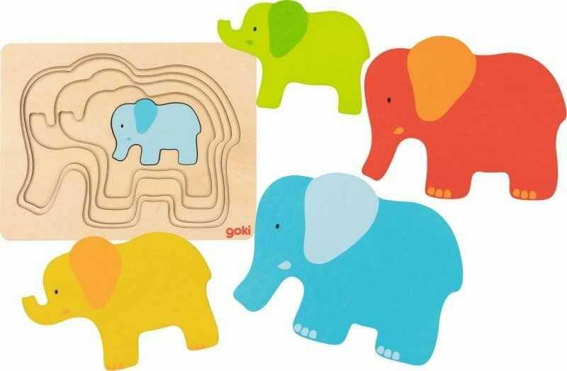 Układanka warstwowa Słoń 57450-Goki, puzzle drewniane