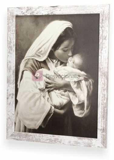 SEPIA Obraz M.B z dzieciątkiem II z ramą w stylu retro 44x34