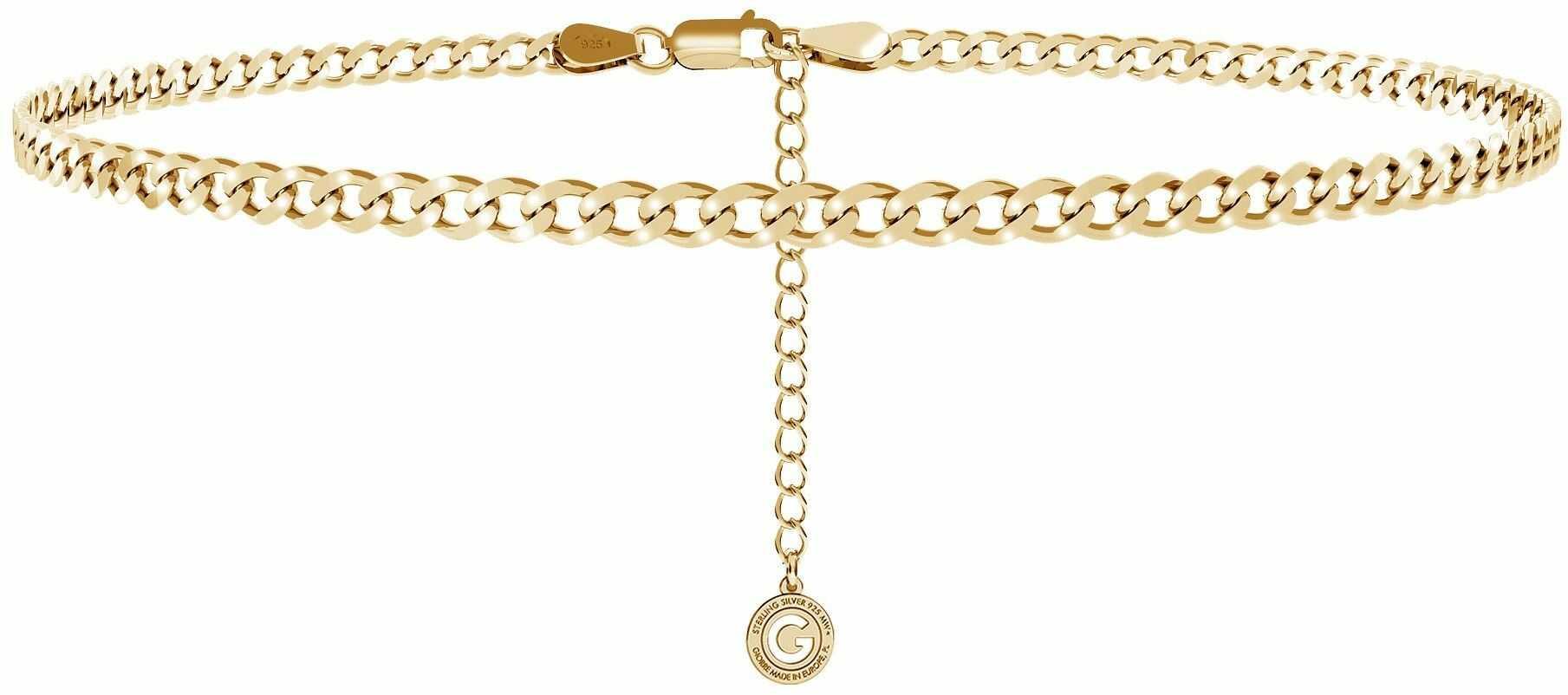 Srebrny łańcuszek choker pancerka, srebro 925 : Długość (cm) - 35 + 5, Srebro - kolor pokrycia - Pokrycie żółtym 18K złotem