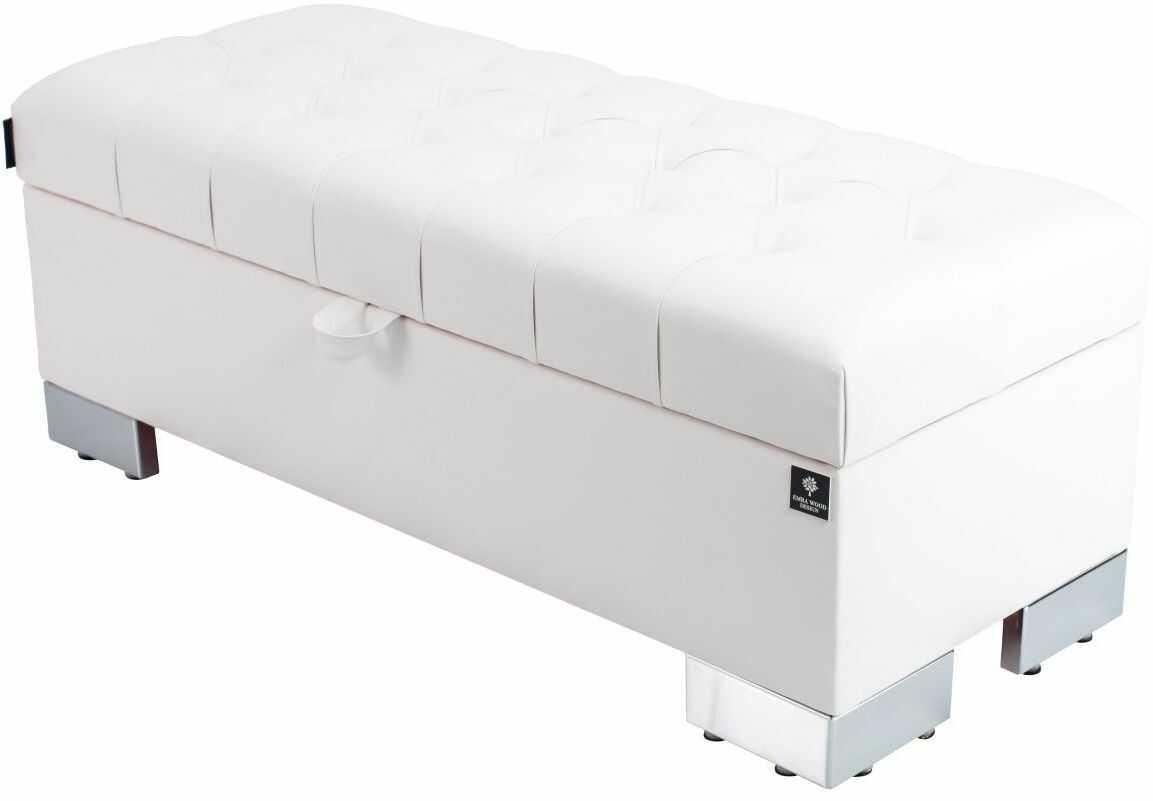 Kufer Pikowany CHESTERFIELD Eko-Skóra Biała / Model Q-4 Rozmiary od 50 cm do 200 cm