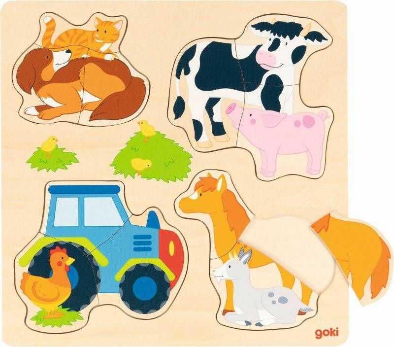 Układanka drewniana Zwierzęta gospodarskie 57430-Goki, puzzle dla dzieci