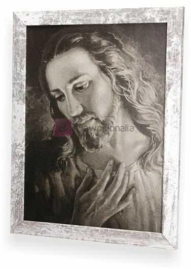 SEPIA Obraz Portret Jezusa z ramą w stylu retro 44x34