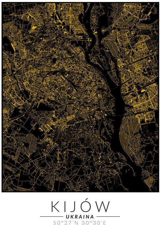Kijów złota mapa - plakat wymiar do wyboru: 20x30 cm