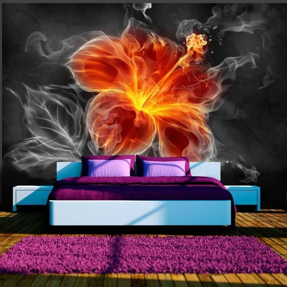 Fototapeta - ognisty kwiat pośród dymu