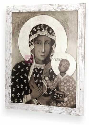 SEPIA Obraz M.B Częstochowska z ramą w stylu retro 44x34