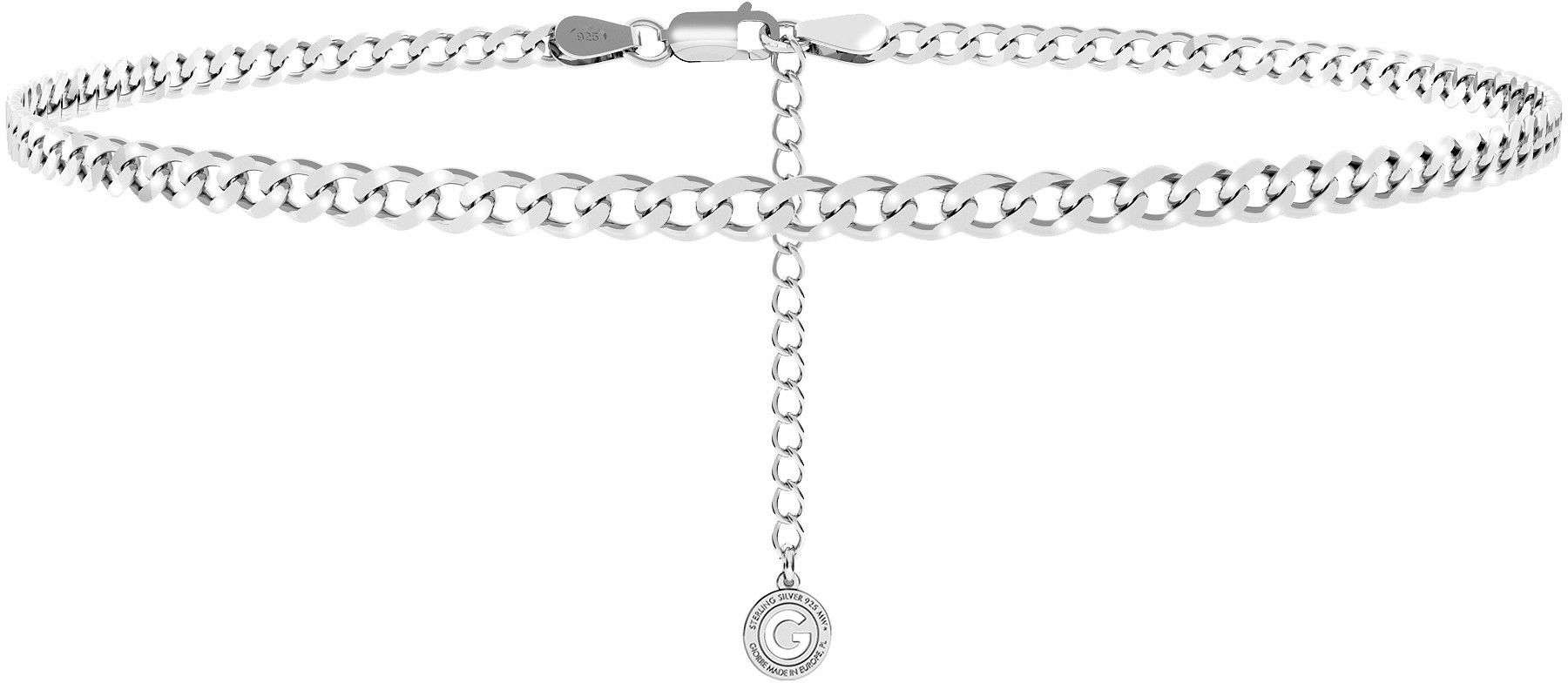 Srebrny łańcuszek choker pancerka, srebro 925 : Długość (cm) - 35 + 5, Srebro - kolor pokrycia - Pokrycie platyną