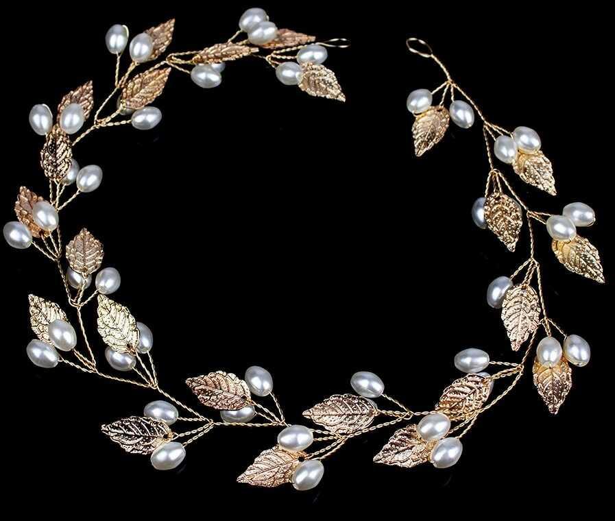 Ozdoba do włosów ślubna złota perły listki stroik