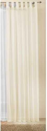 Zasłona na przelotkach, przezroczysta, jednokolorowa firanka z woalu, wiele atrakcyjnych kolorów, rozmiar specjalny, 225 x 140 cm (wys. x szer.), kremowa, 61225