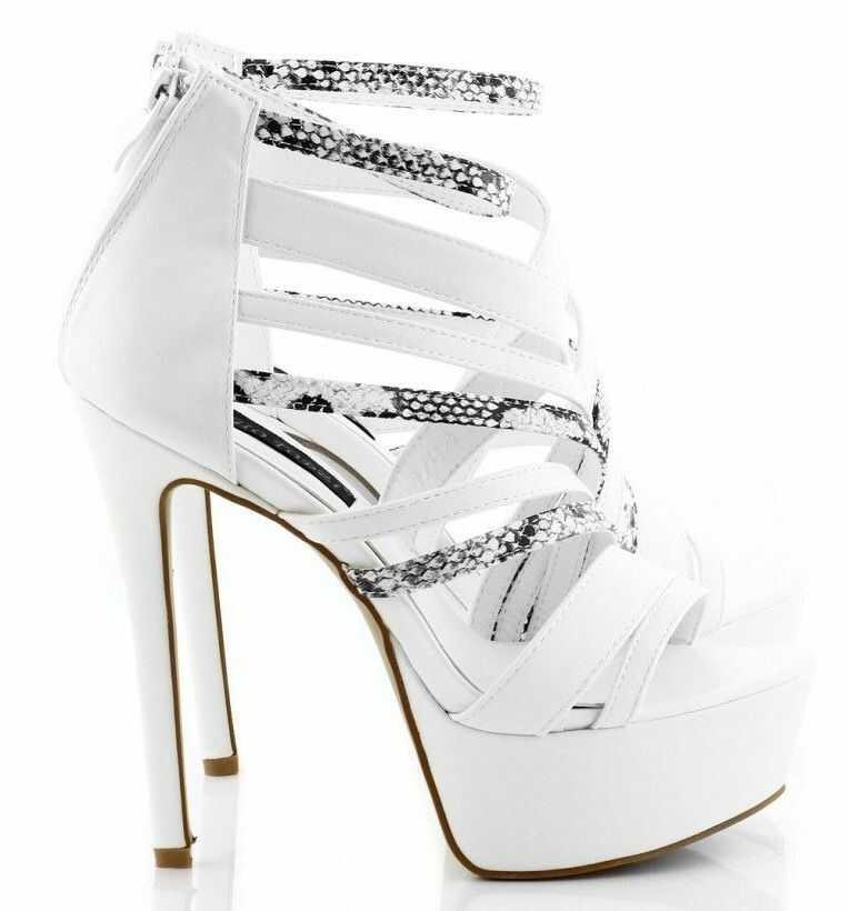 Białe sandały na platformie szpilki black & white snake s-17