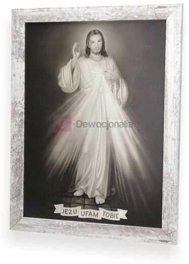 SEPIA Obraz Jezu Ufam Tobie z ramą w stylu retro 44x34