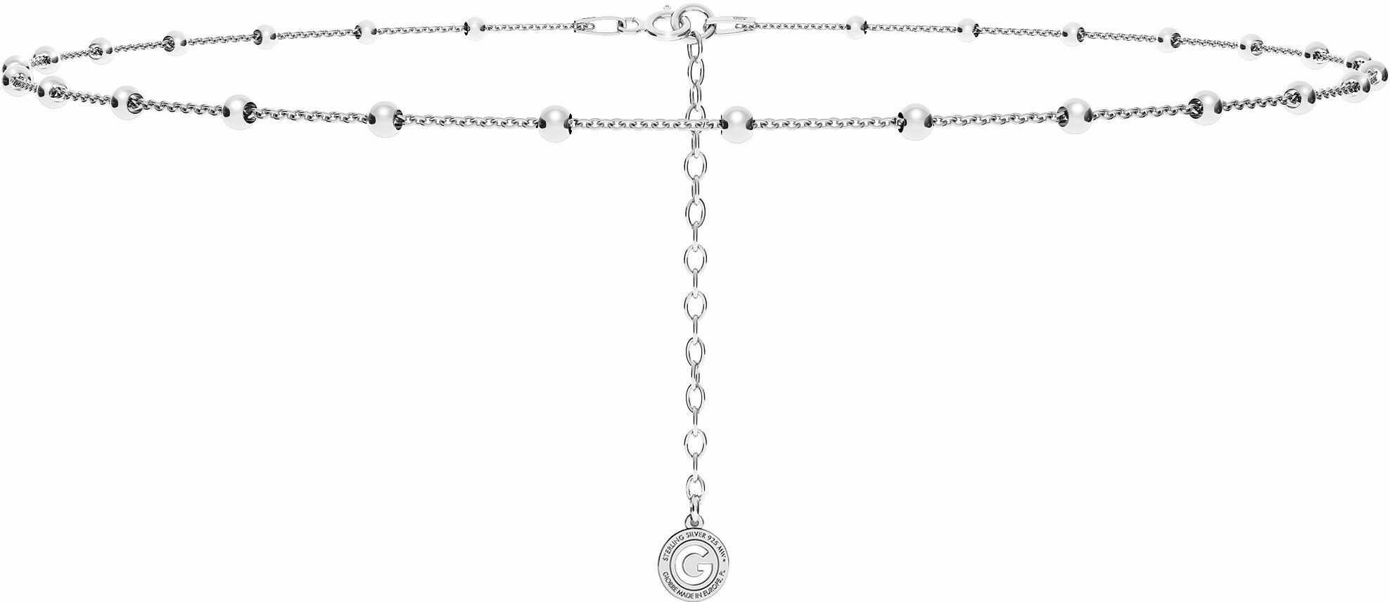 Srebrny łańcuszek choker ankier z kulkami, srebro 925 : Długość (cm) - 35 + 5, Srebro - kolor pokrycia - Pokrycie platyną