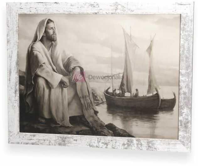 SEPIA Obraz Jezusa z ramą w stylu retro 44x34