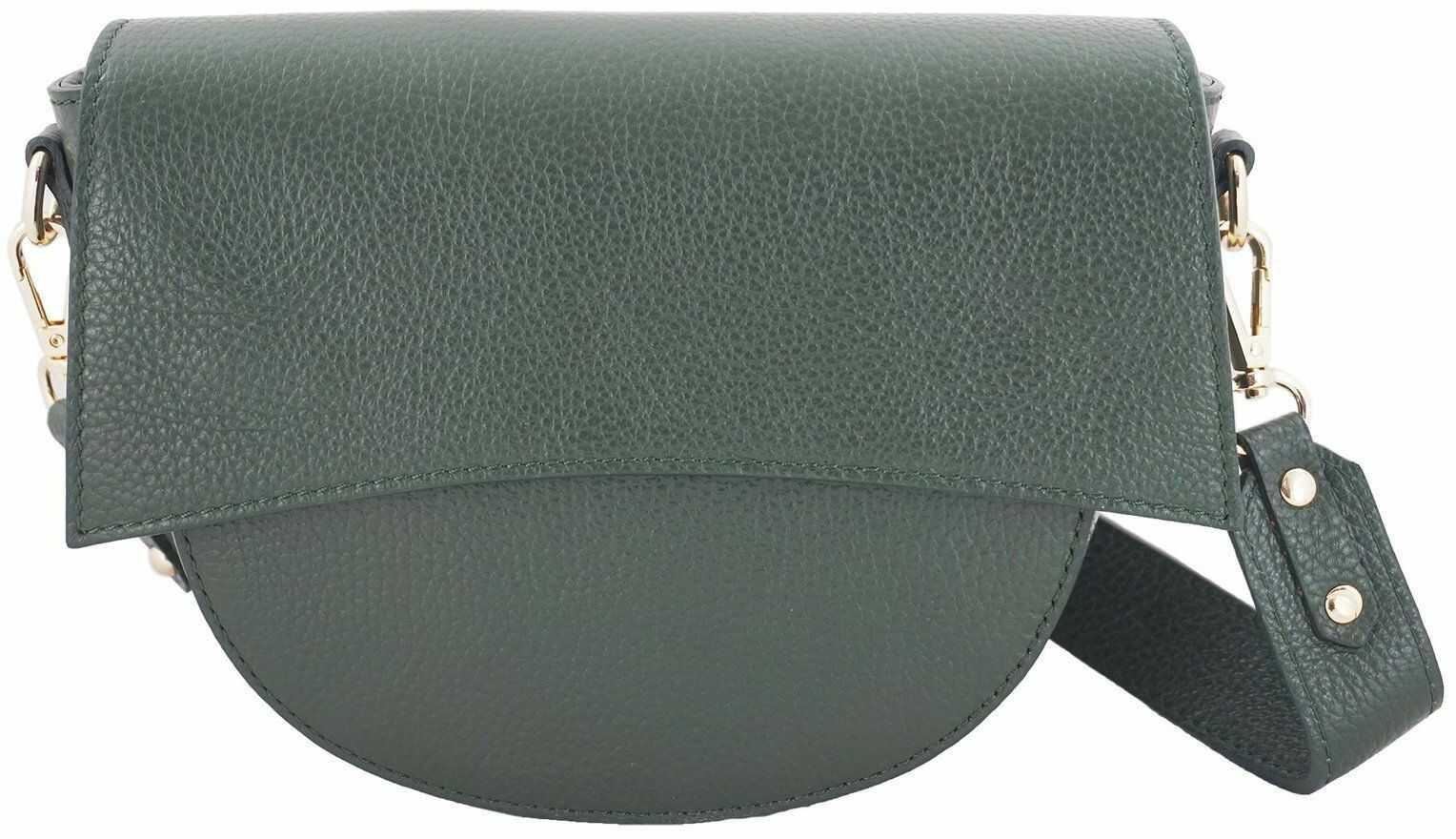 Skórzana torebka listonoszka damska - Zielona ciemna