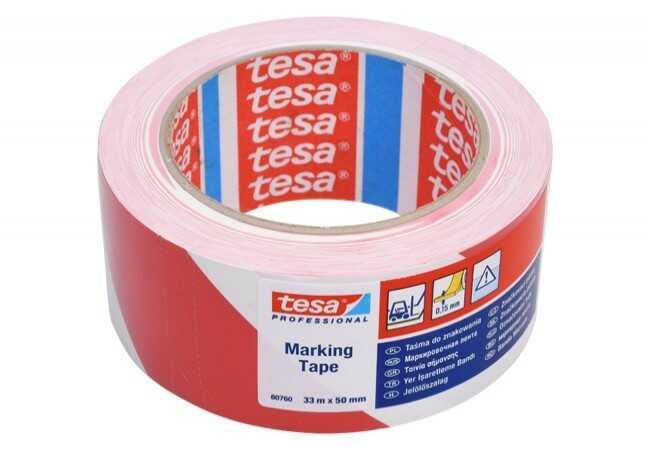 Taśma ostrzegawcza Tesa PVC długość 33 m, szerokość 50 mm (60760-00092-15)