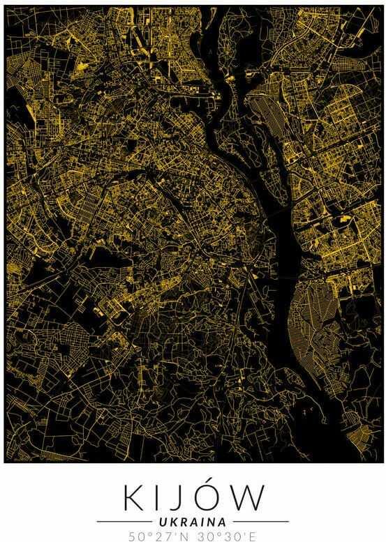 Kijów złota mapa - plakat wymiar do wyboru: 40x50 cm