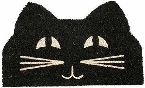 Entryways P2023 wycieraczka z kotem twarz antypoślizgowa z żyłką, czarno-biała, 71_x_43_cm