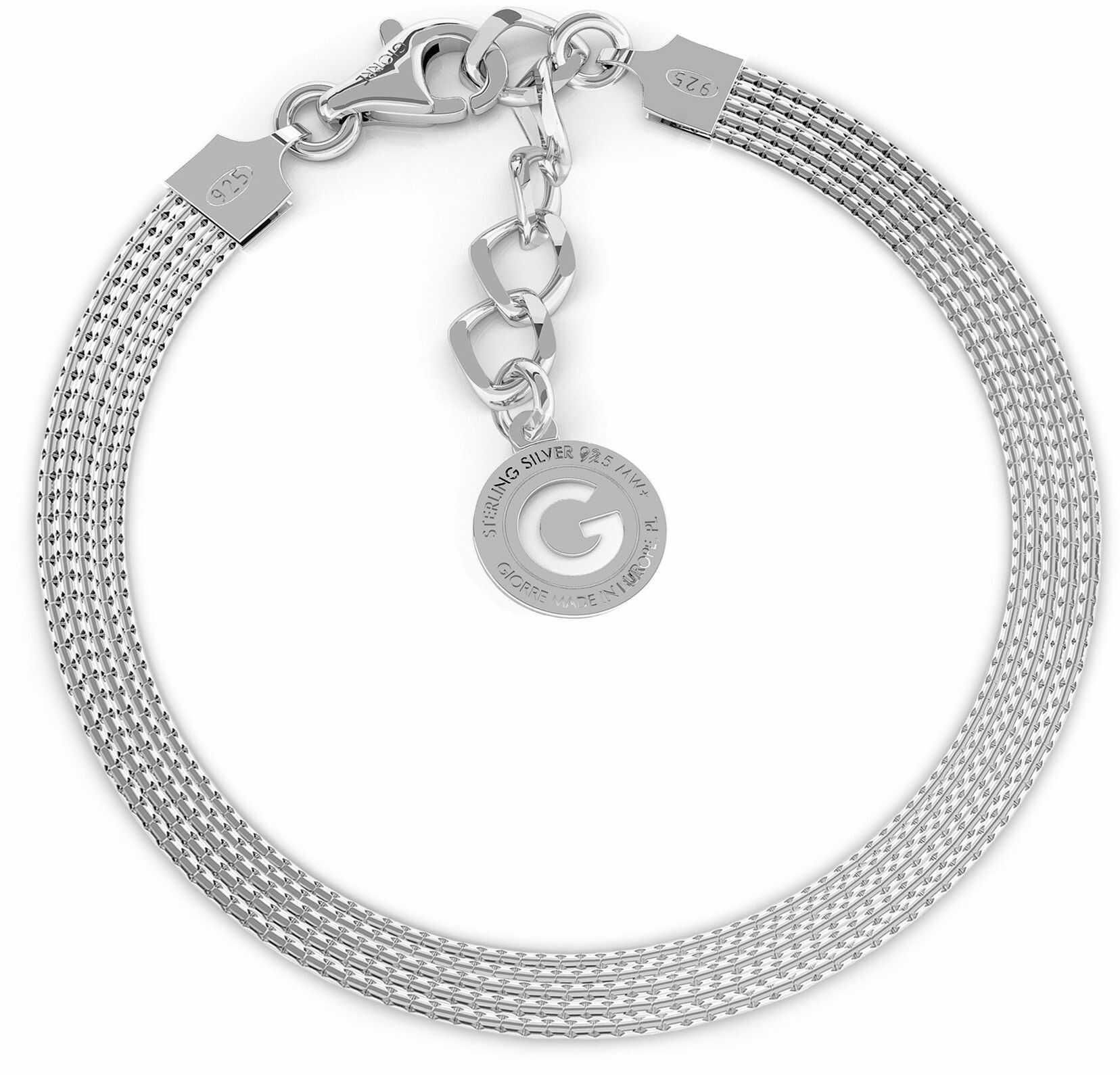 Srebrna bransoletka z 5 łańcuszków, srebro 925 : Srebro - kolor pokrycia - Pokrycie platyną