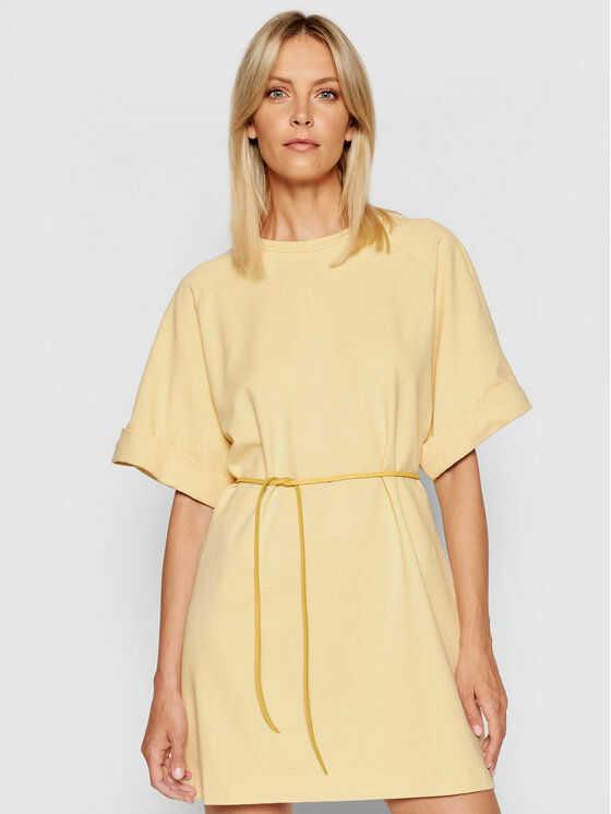 Sukienka codzienna ABZQBCR Żółty Regular Fit