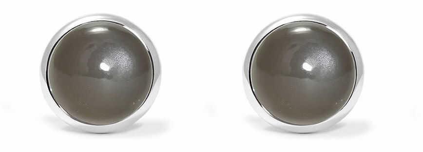 Kuźnia Srebra - Kolczyki srebrne, 16mm, Kamień Księżycowy, 2g, model