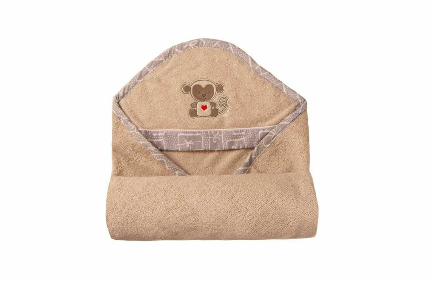 Okrycie kąpielowe niemowlęce 100x100 Bamboo 16 beżowy ręcznik z kapturkiem