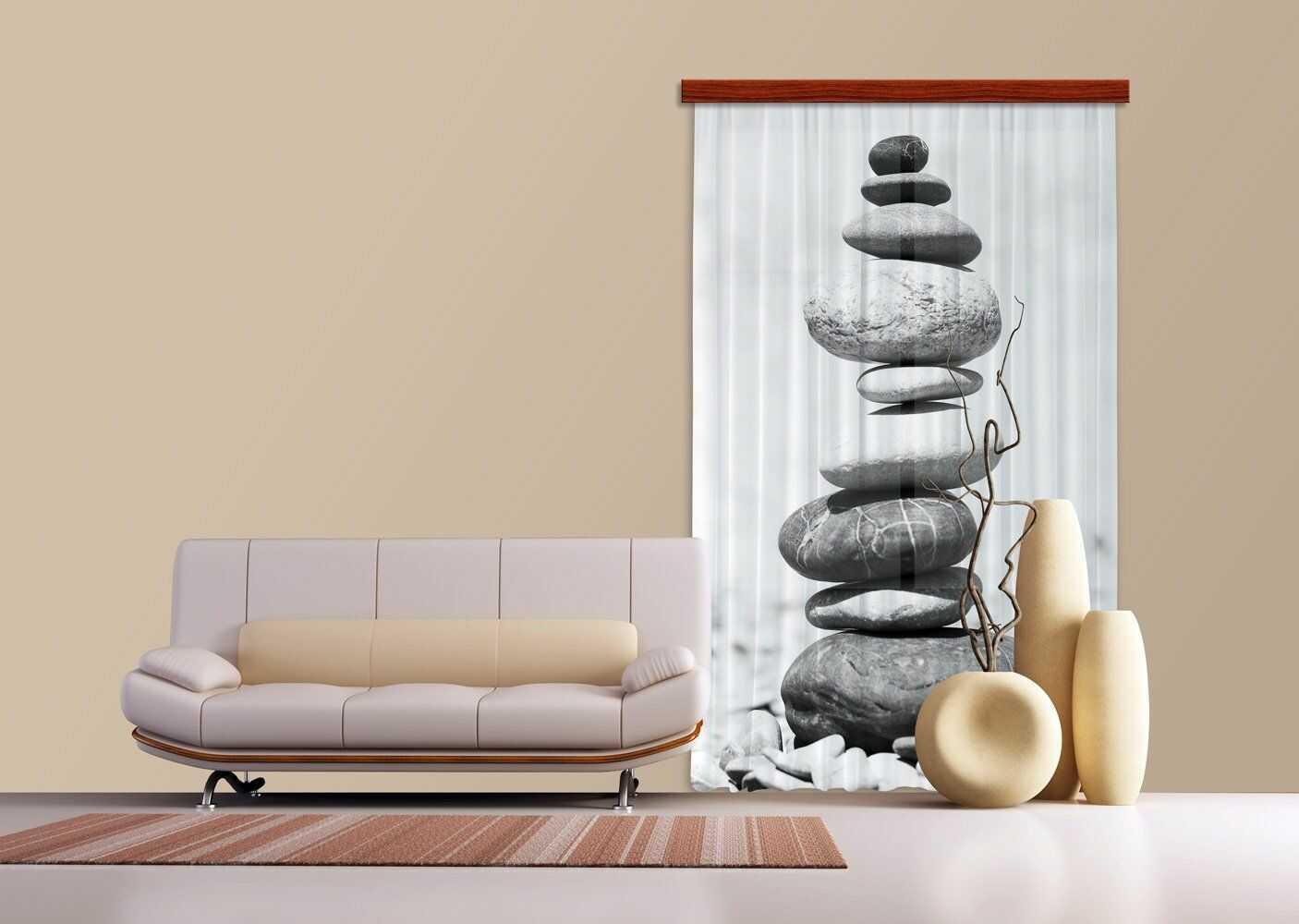 AG Design kamienie, zasłona, 140 x 245 cm, 1 część, FCPL 6504, poliester, wielokolorowa, 0,1 x 140 x 245 cm