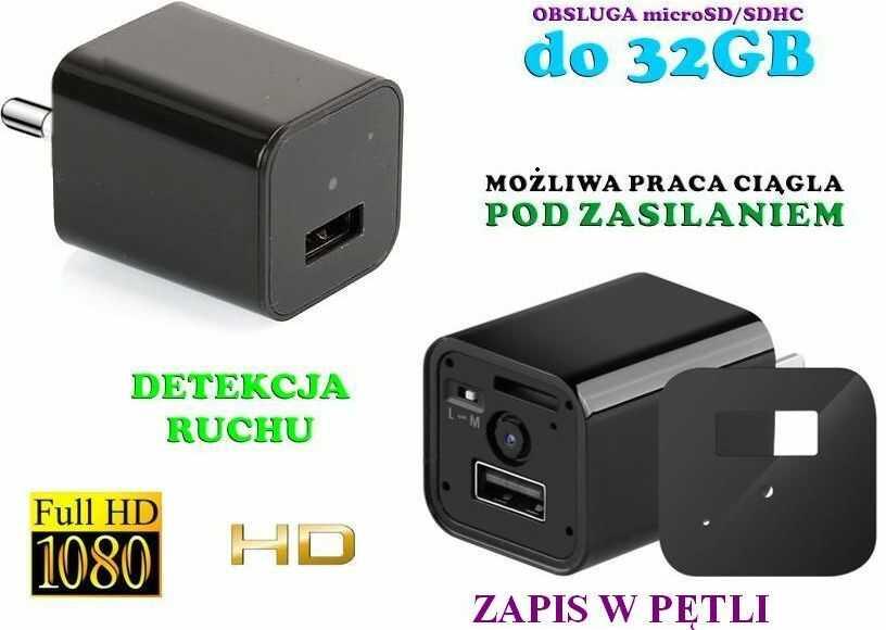 Szpiegowski Zasilacz/Ładowarka USB, Nagrywająca Obraz FULL HD + Dźwięk (m.in. na ruch) + Praca 24H!!