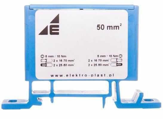 Złączka szynowa przelotowa 2-przewodowa 16-70mm2 niebieska ZP50 Cu / n 48.51