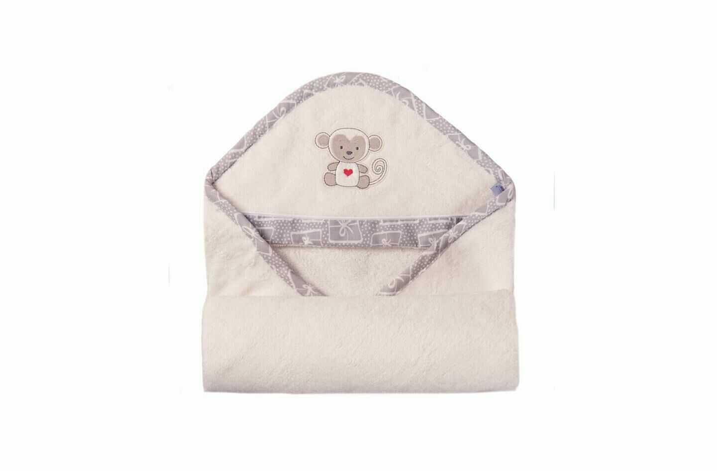Okrycie kąpielowe niemowlęce 100x100 Bamboo 01 biały ręcznik z kapturkiem