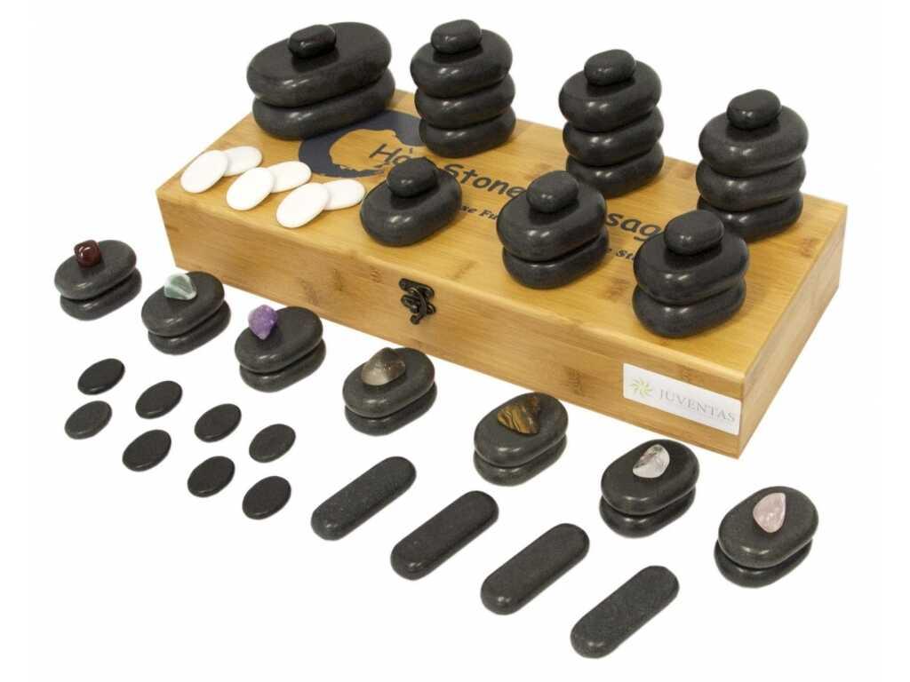 Zestaw 64 bazaltowych kamieni do masażu
