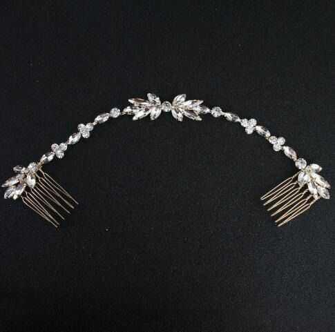 Ozdoba do włosów złota ślubna grzebyk cyrkonie