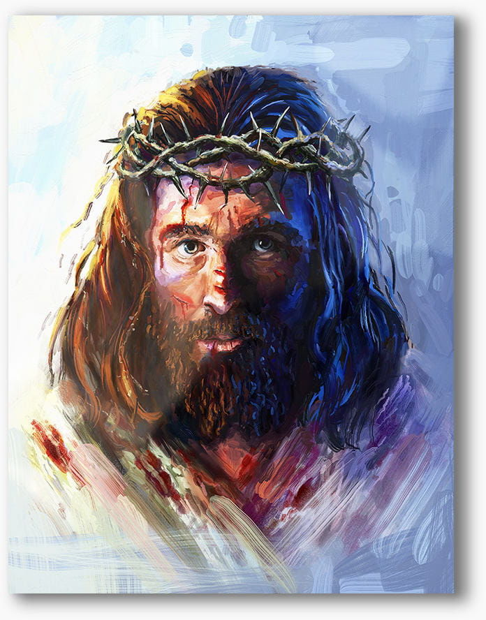 Chrystus w koronie cierniowej, nowoczesny obraz religijny plexi