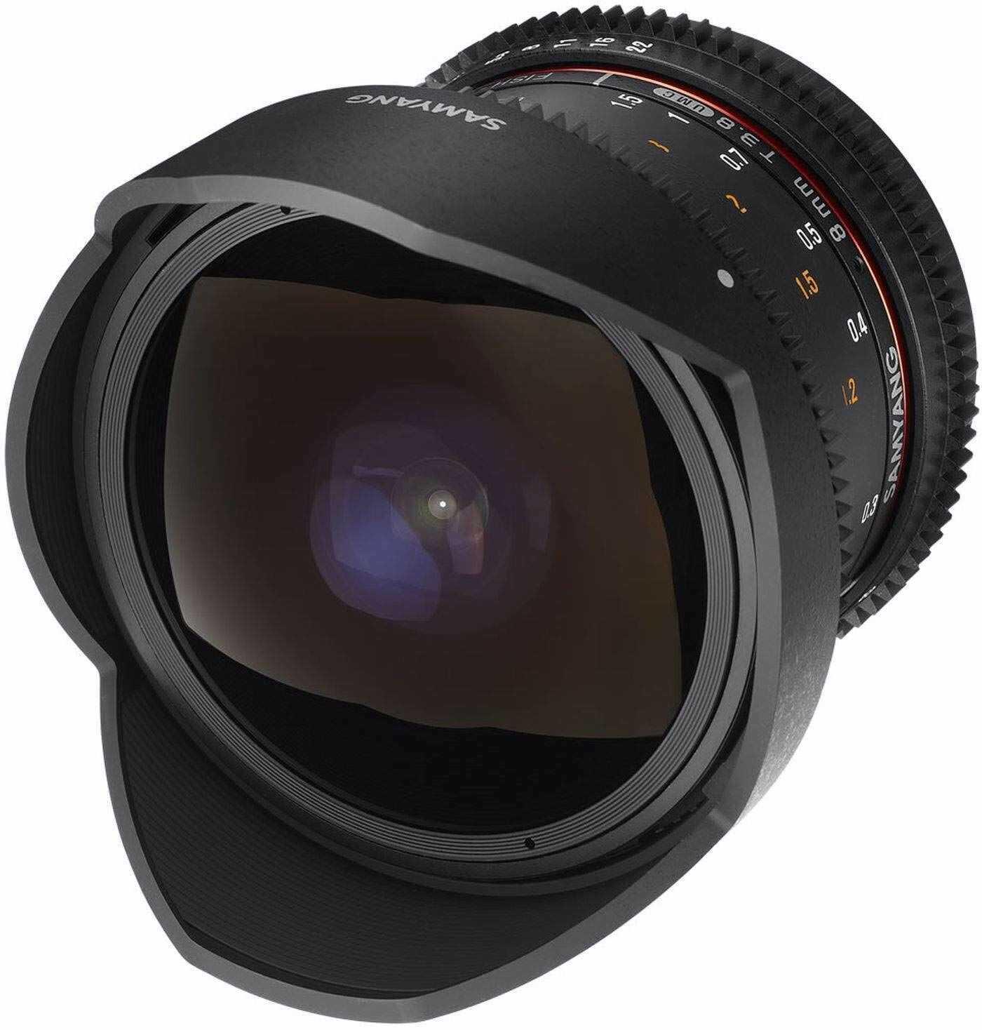 Obiektyw SAMYANG 13008T3.8N 8 mm T3.8 VDSLR UMC Fish-Eye CS II do podłączenia Nikon czarny